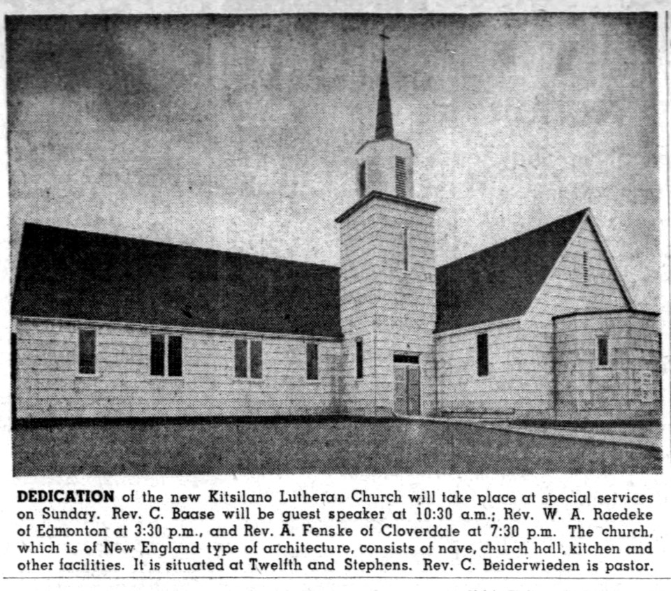 Kitsilano Lutheran Church is it appeared the Vancouver Sun before its dedication in the late 1940s.