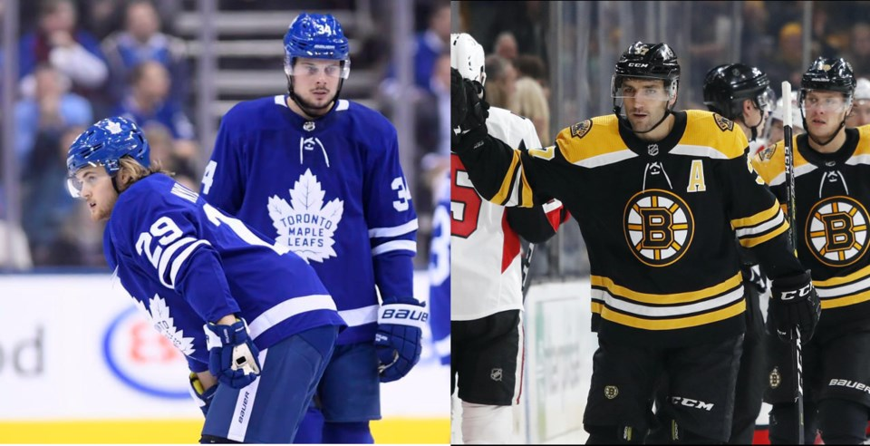 William Nylander and Auston Matthews of the Leafs vs Patrice Bergeron of the Bruins.