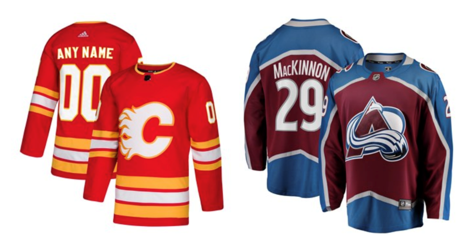 Flames Avalanche jerseys