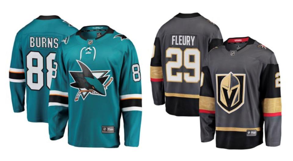 Sharks Golden Knights jerseys