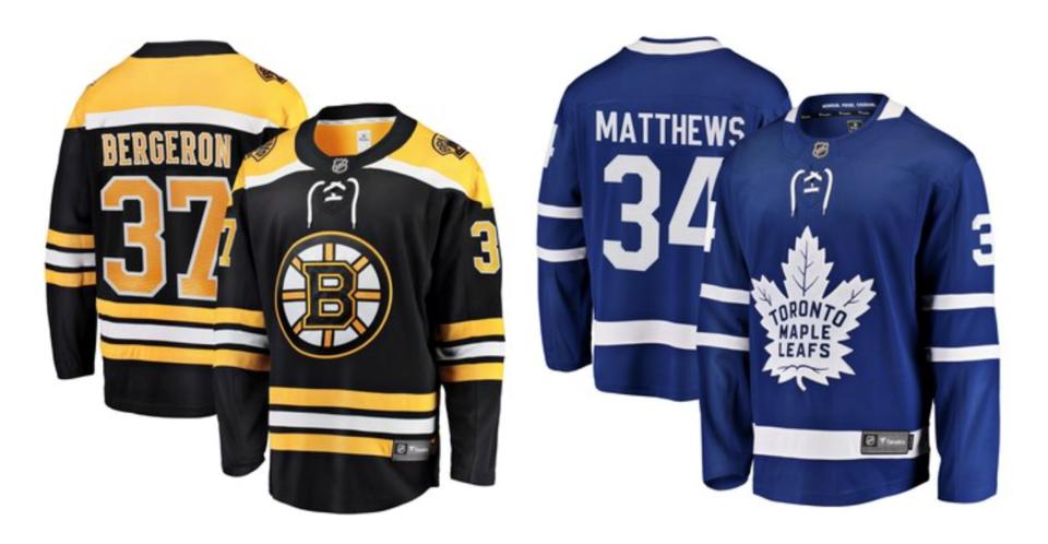 Bruins Leafs jerseys