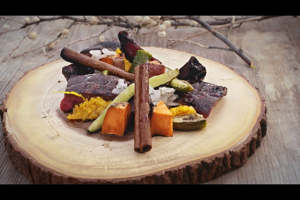 Edmonton chef Shane Shartrand prepared this meal, which consists of bison heart wrapped in poplar branches, during the filming of a Red Chef Revival episode centred on the Blood First Nation Reserve in southern Alberta.