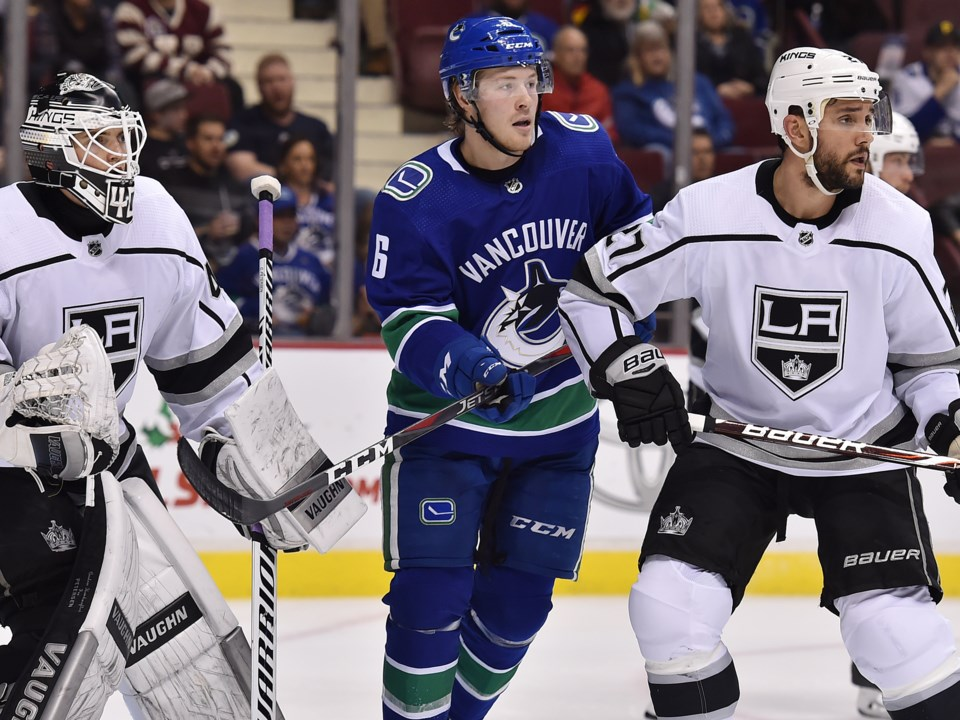 Brock Boeser of the Vancouver Canucks sets up in front of the Los Angeles Kings' net.
