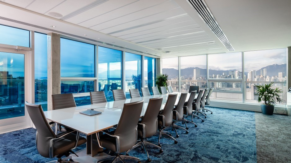 Electrically charged View Smart windows in a new Vancouver office tower darken in reaction to sunlig