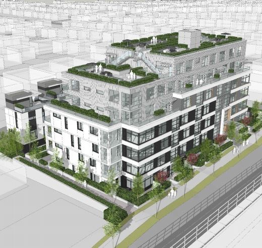 Aerial view of building looking west. Rendering Dys Architecture