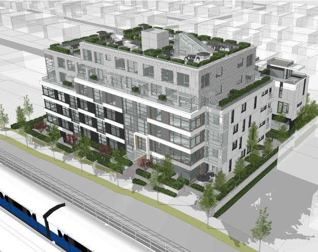 Aerial view of building looking south. Rendering Dys Architecture