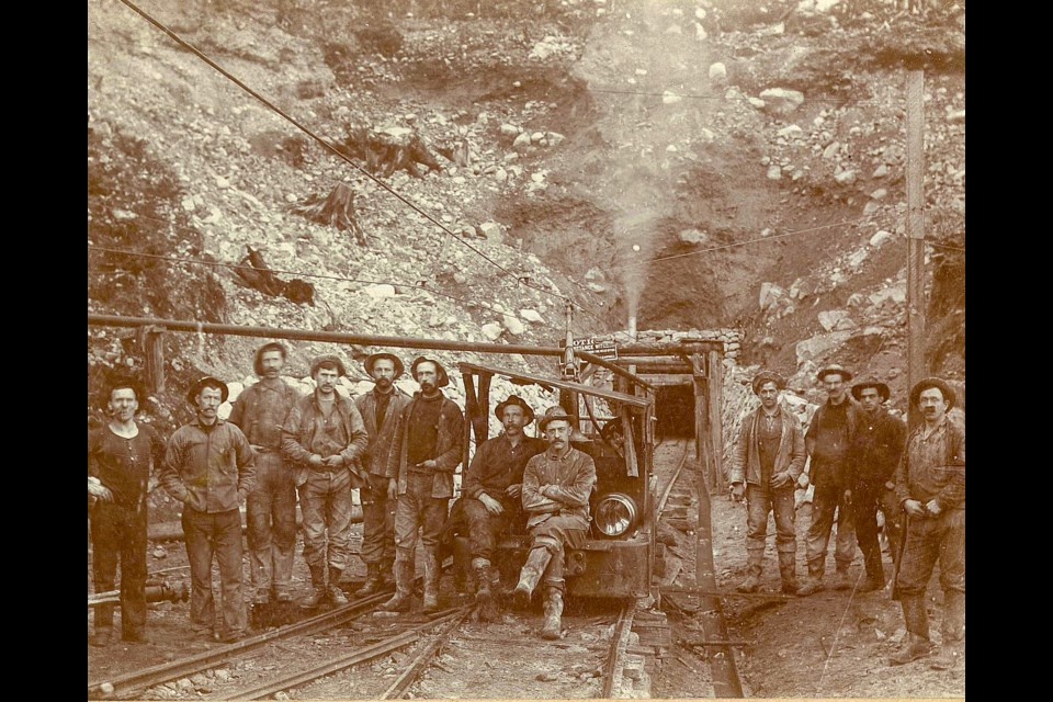 Workers at the end of the Buntzen tunnel. Who the 103 workers were and how they died was never recorded.