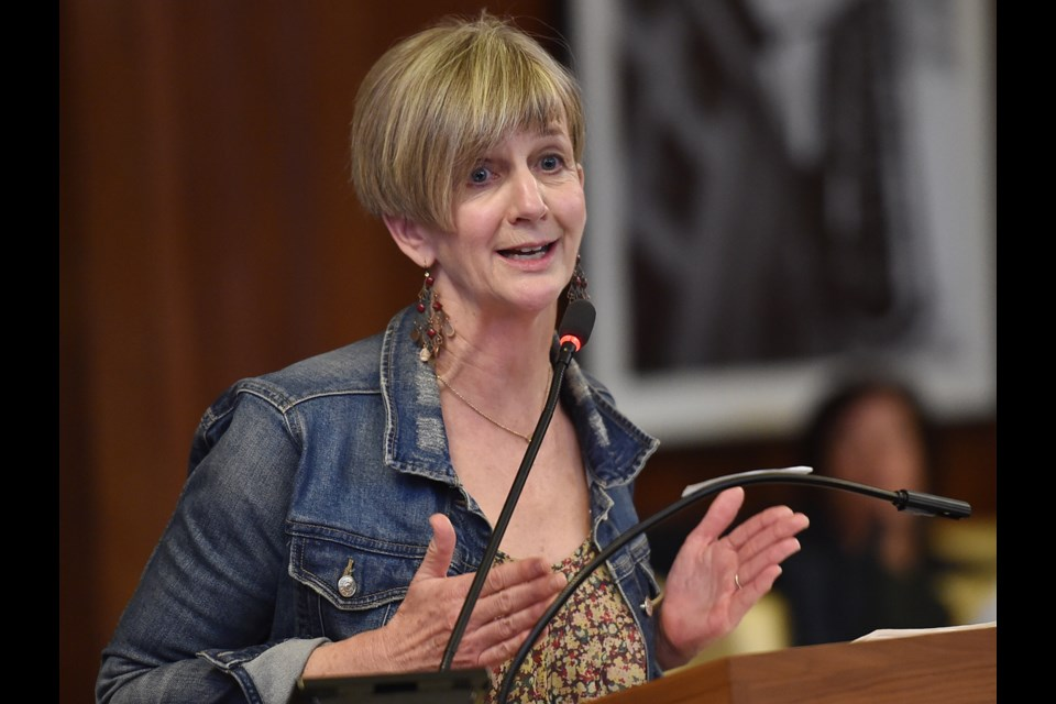 Patricia Barnes, executive director of the Hastings North Business Improvement Association, urged council Monday to approve a two per cent tax shift for commercial property owners. Photo Dan Toulgoet