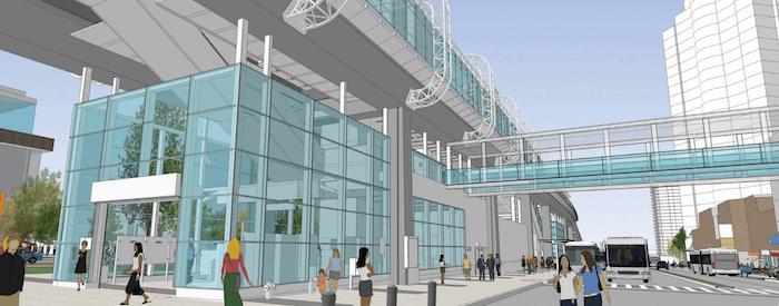 Artistic rendering of the new pedestrian walkway at Metrotown SkyTrain Station (TransLink)