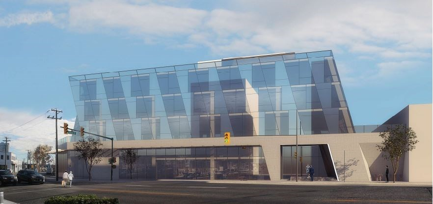 Perspective view from corner of West Second and Crowe Street. Rendering MCMP Architects