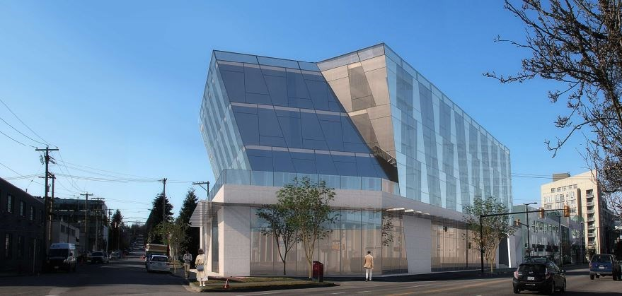 Perspective view from corner of West Second and Alberta Street. Rendering MCMP Architects