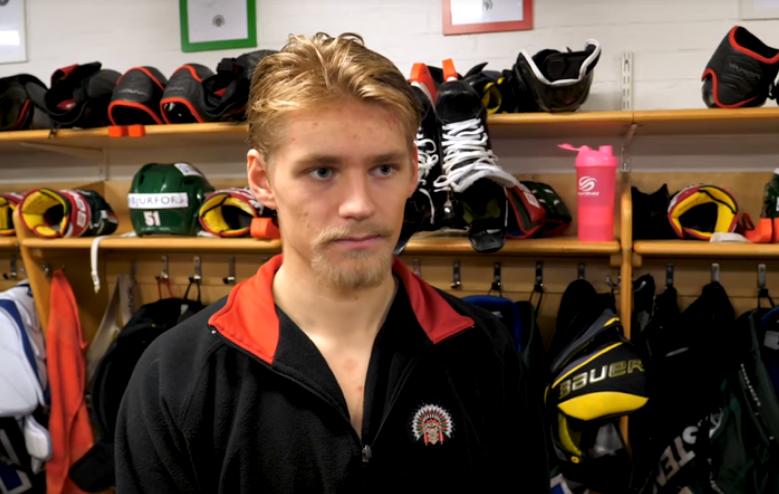 Kristoffer Gunnarsson after scoring his first SHL goal for Frolunda.