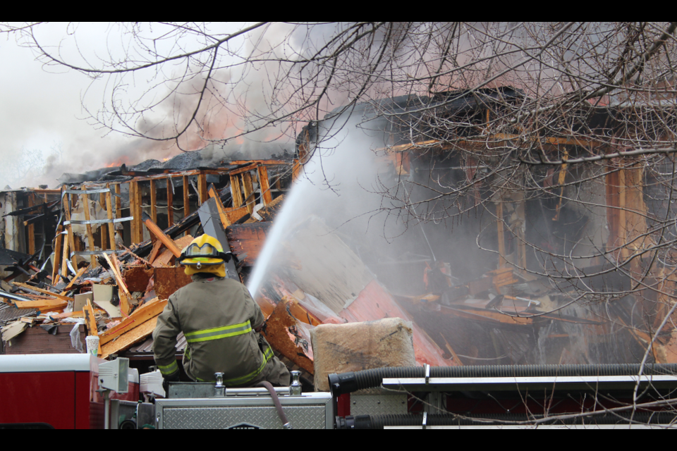 On scene with fire fighters earlier this morning.
