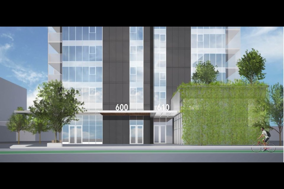 A new 29-storey building has been approved on a Sixth Street site in uptown New West. The project includes separate entrances and lobbies for renters and owners - something the city is seeking to develop a policy on for future developments.