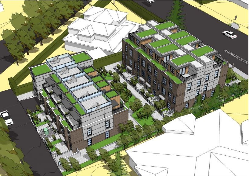Rendering of proposed townhouse development. Rendering: Stuart Howard Architects