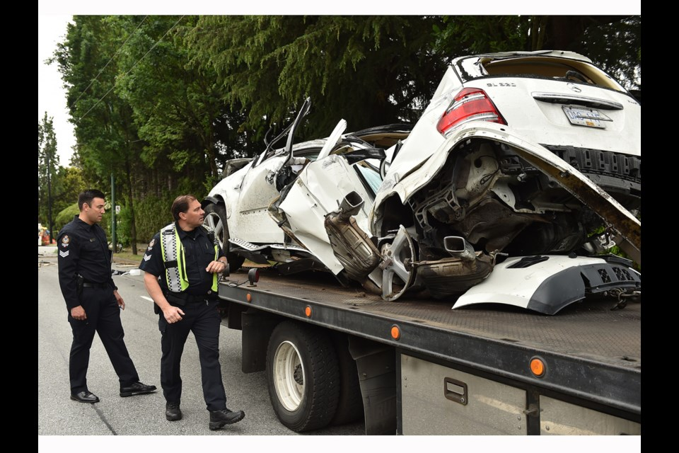 A Surrey man is in hospital with life-threatening injuries after a serious crash early Wednesday morning at the intersection of West 49th Avenue and Oak Street. Photo Dan Toulgoet