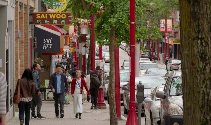Sasha and Marcus talk about life in San Francisco…in Vancouver's Chinatown. Screenshot/Netflix
