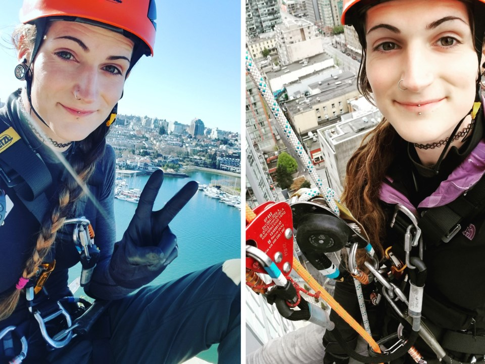 "Window washer Sophi Rose: ""I was into rock climbing before that. So, I was used to heights, and I ha"