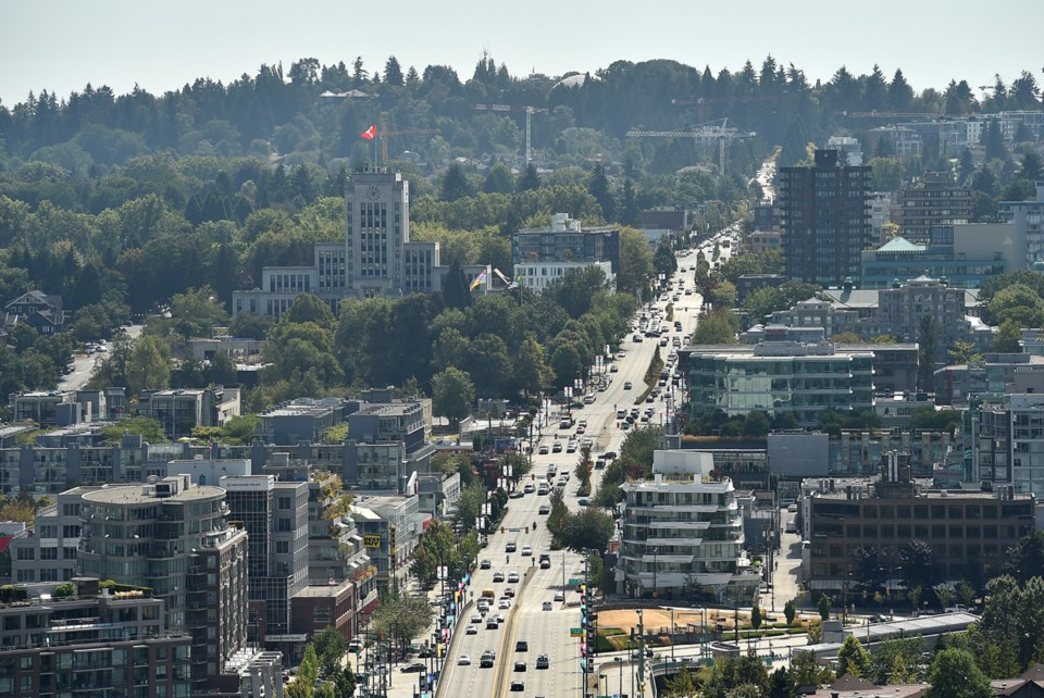 Looking south along Cambie street from downtown Vancouver. Photo Dan Toulgoet