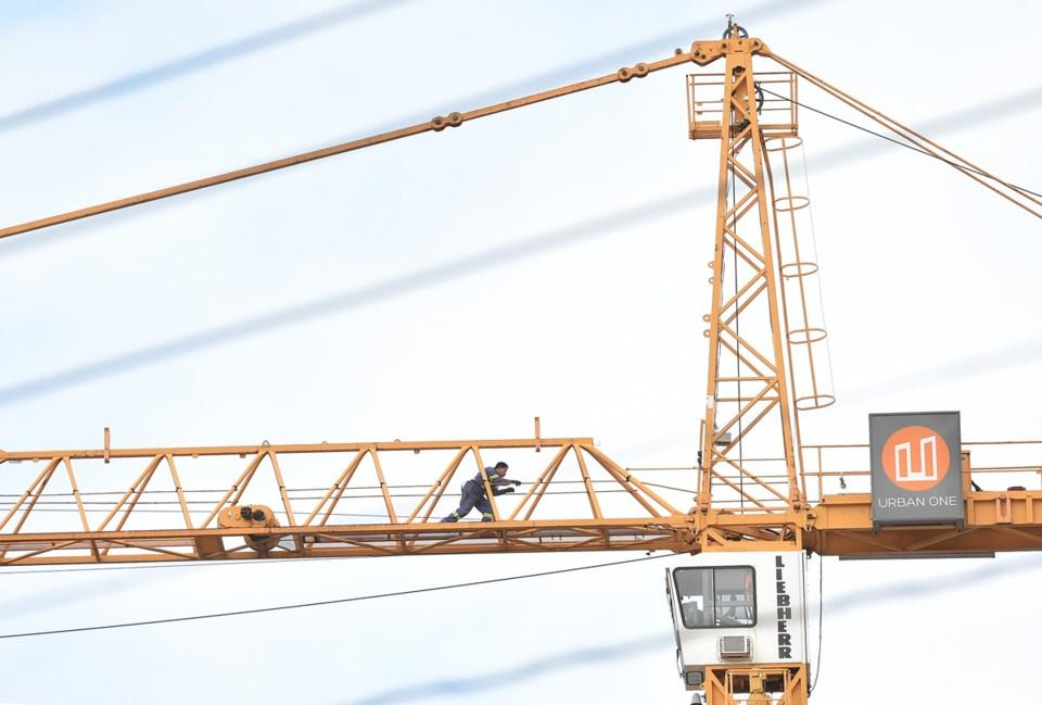 A man on his crane in Mount Pleasant. Photo Dan Toulgoet