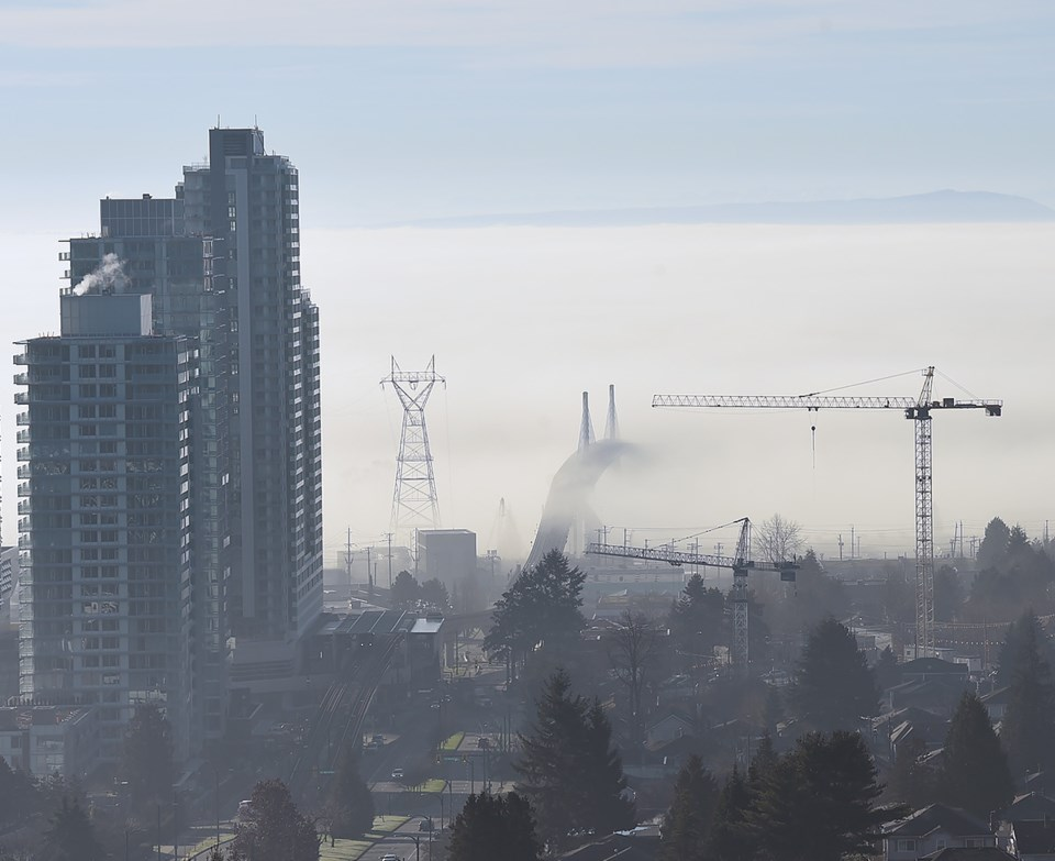 Morning fog off the Fraser River at Marine Drive and Cambie Street. Photo Dan Toulgoet