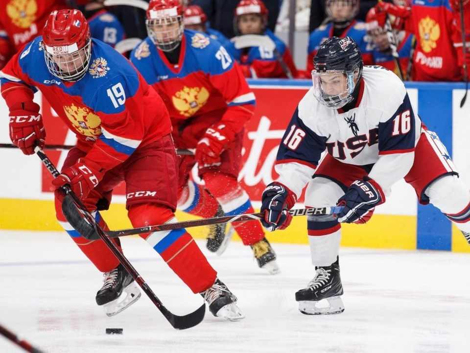 Vasili Podkolzin controls the puck for Russia at the 2018 Hlinka Gretzky Cup.