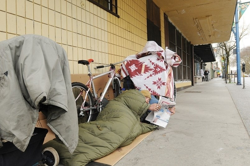 Homelessness has reached an all-time high in Vancouver, as results from this year's homeless count revealed Wednesday. Photo Dan Toulgoet