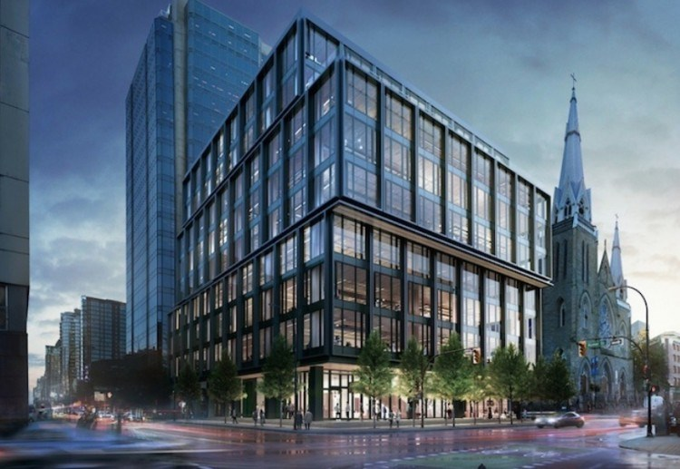 Here is a rendering of the building at 402 Dunsmuir St. where Amazon plans to move 1,000 newly hired