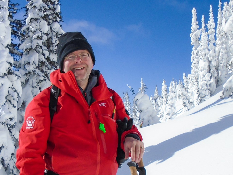 Chapman in the Selkirk Range doing backcountry ski training with Coquitlam Search and Rescue