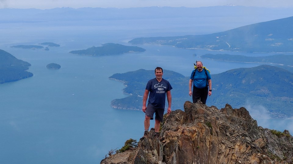Chapman and Graham test out the Overdue app on Mount Brunswick