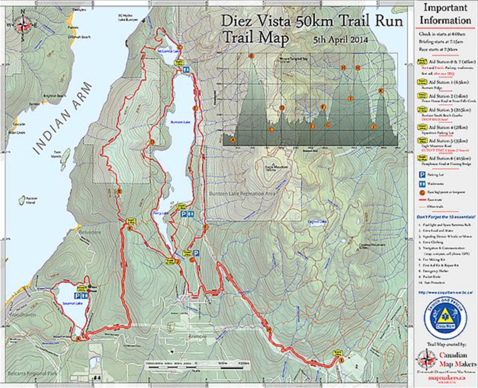 Chapman has produced dozens of paper maps, including this trail running map in the Buntzen Lake area