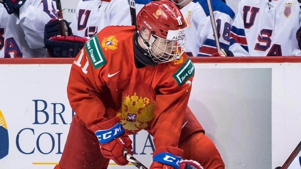 Vasili Podkolzin along the boards for Team Russia.