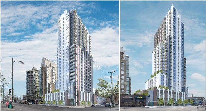 Views from West Broadway of development envisioned for 2538 Birch St. Renderings IBI Group