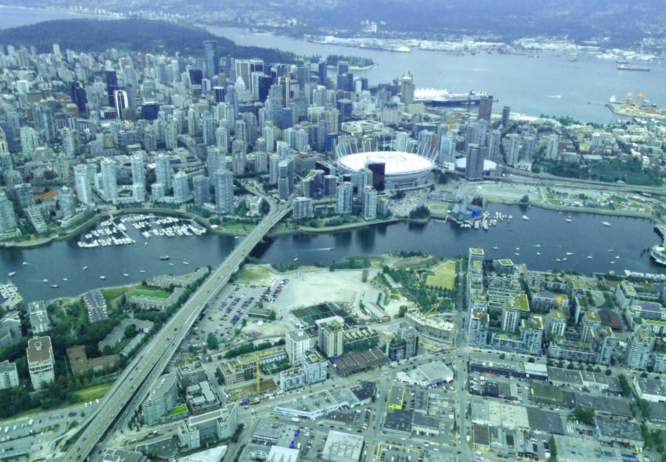 Aerial shot downtown Vancouver and Olympic Village