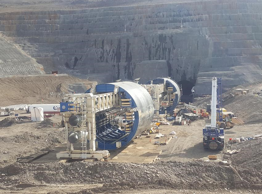 Two custom-built slip forms will create a circular tunnel lining for the diversion tunnels, June 2019.
