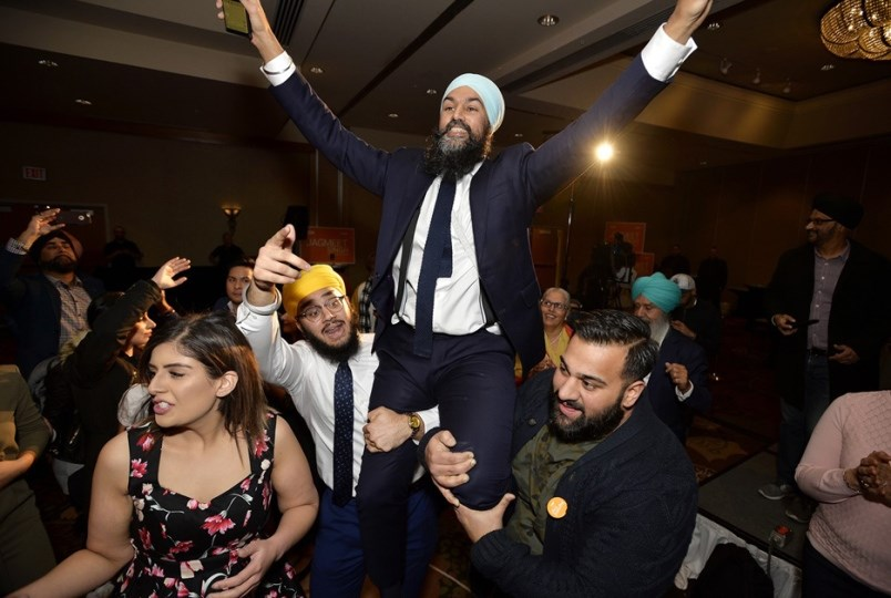 NDP leader Jagmeet Singh shown here celebrating his February byelection victory as MP for Burnaby So