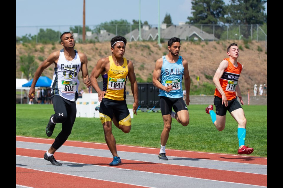 New Westminster's Jeremy Belcher, shown above at the 2019 B.C. High School track and field championships, is among the newest members of the SFU track and field program.