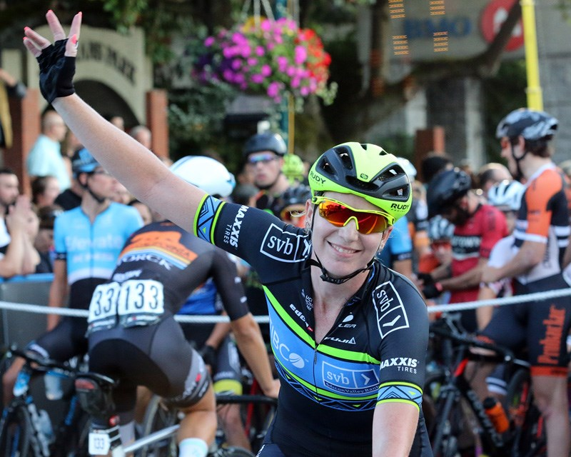 MARIO BARTEL/THE TRI-CITY NEWSNina Kessler acknowledges the crowd after her victory in the women's pro race at Friday's fourth annual PoCo Grand Prix.