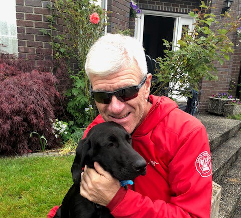 Garry Mancell and his dog Maisie. Maisie went missing July 3 in West Vancouver and the member of Coquitlam Search and Rescue hopes he can find her.
