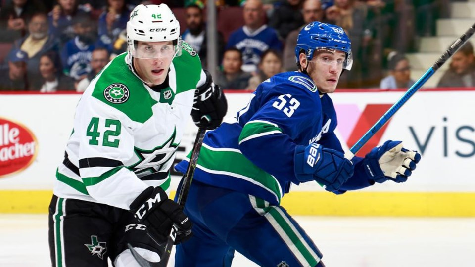 Taylor Fedun and Bo Horvat look for the puck.