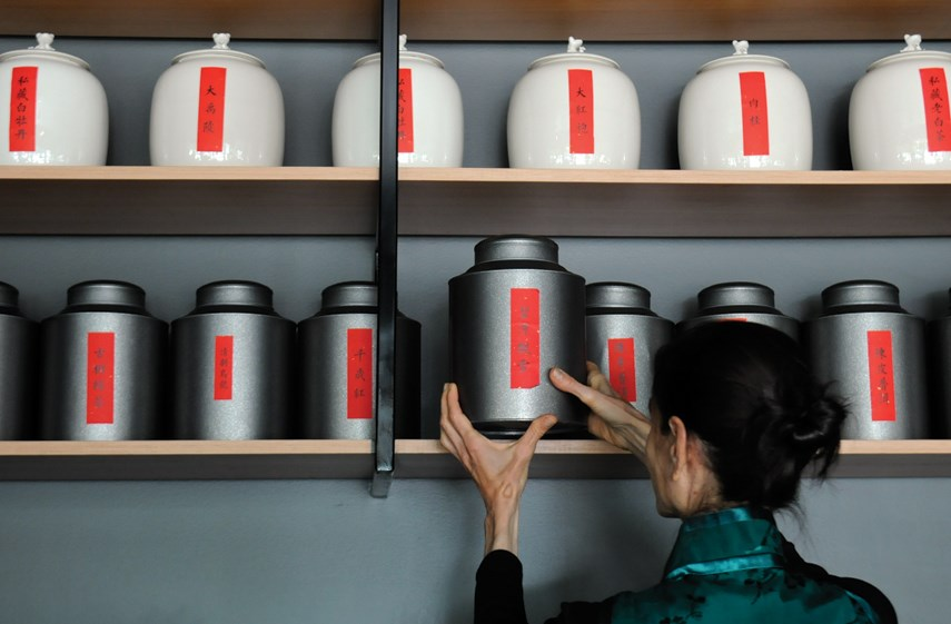 Canisters of various teas line the shelves at Van Cha in West Vancouver.