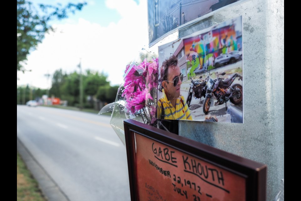 A memorial for late actor Gabe Khouth near where he died while riding his motorcycle July 23