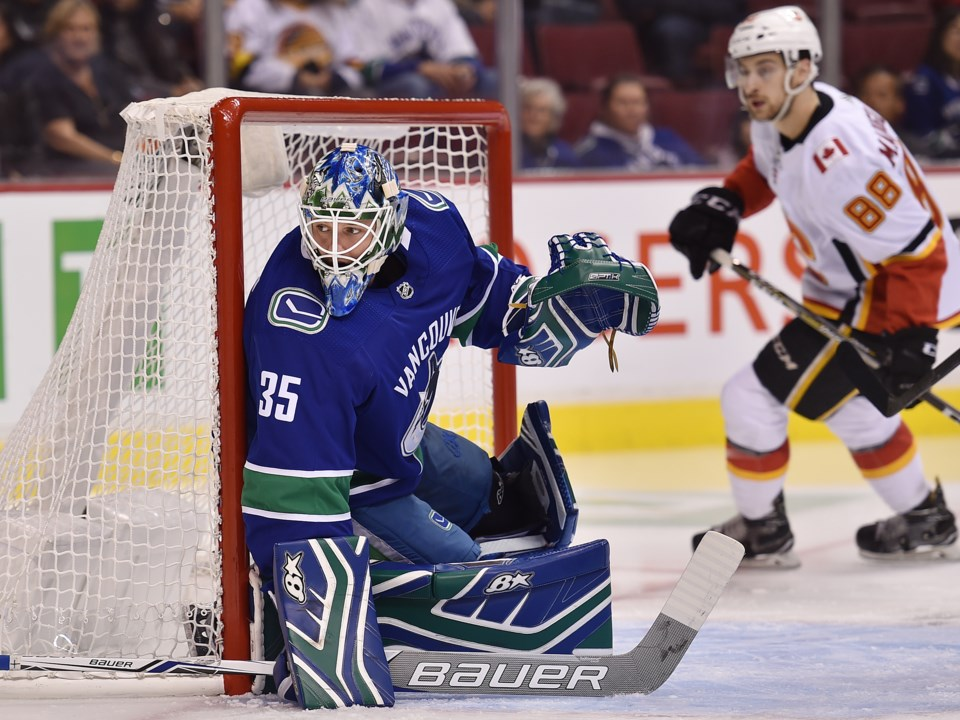 Thatcher Demko in net for the Vancouver Canucks during the 2018 preseason.