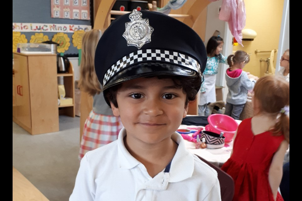 École Brantford Elementary kindergartner Benjamin Poco-Nava was one of three police officers in Busytown, a classroom community that donated $100 to the Burnaby Hospital Foundation recently.