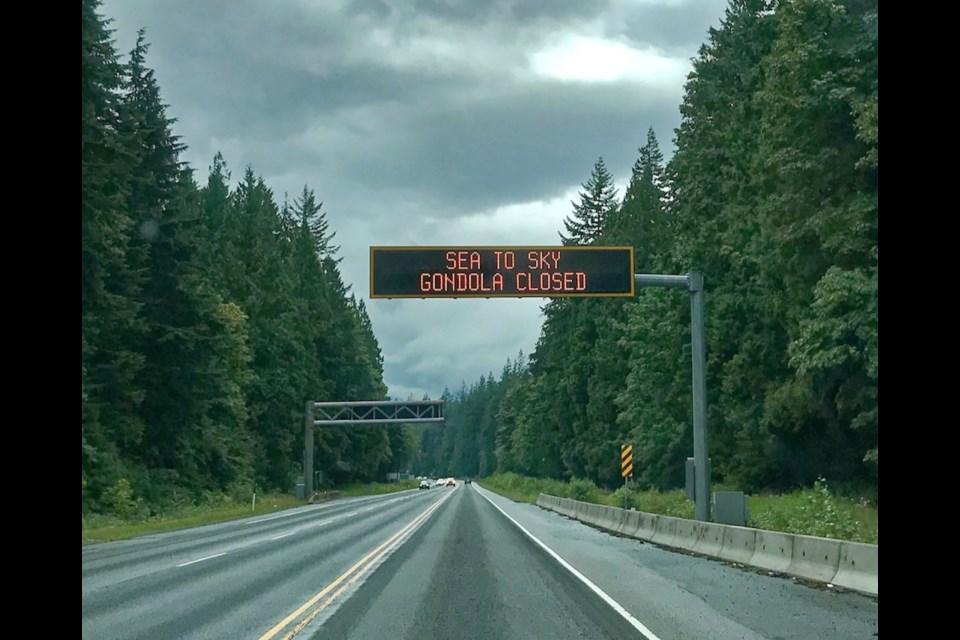 The sign along Highway 99 near Alice Lake on Sunday.