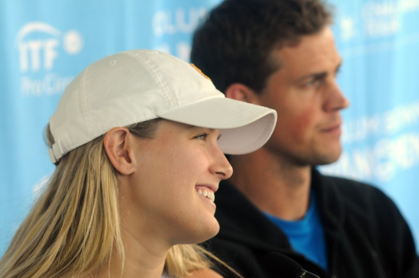 Genie Bouchard and Vasek Pospisil take questions on media day at the VanOpen. photo Mike Wakefield, North Shore News