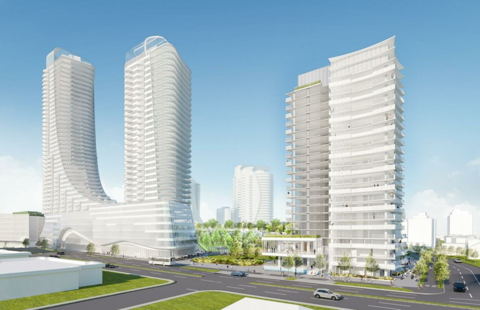 View from West 41st Avenue looking southeast. Rendering Henriquez Partners Architects