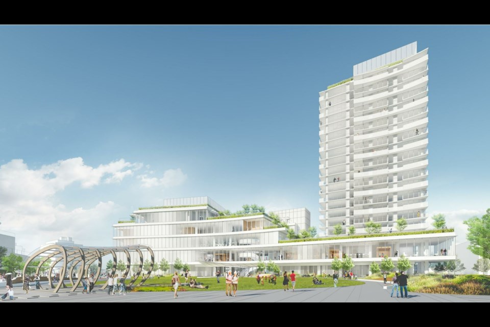 View from civic centre park looking west. Rendering Henriquez Partners Architects