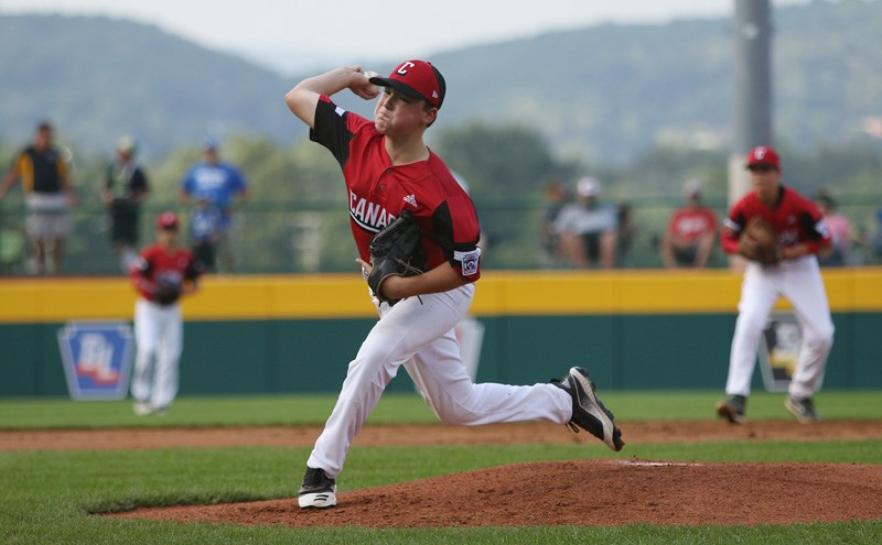 THOMAS SALUS/LITTLE LEAGUE BASEBALL AND SOFTBALLCoquitlam Little League starting pitcher Matthew Shanley overcame a shakey start in Canada's opening game against Mexico at the Little League World Series, Friday in Williamsport, Penn. But the 31 pitches he threw in the first inning cost him as he hit the mandatory 85-pitch limit in the fourth inning. Canada, losing 1-0 at the time, went on to commit four errors and give up four more runs in a 5-0 loss.