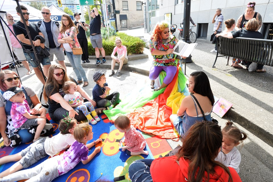 Kids gathered for Drag Queen Storytime.